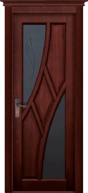 Дверь-массив-ольхи-Глория-махагон-остекленная